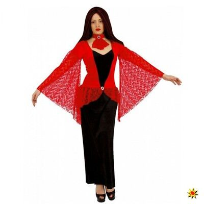 Kostüm Vampir Lady Gr. S Kleid schwarz/ rot Spitze Halloween Fasching Draculina ()