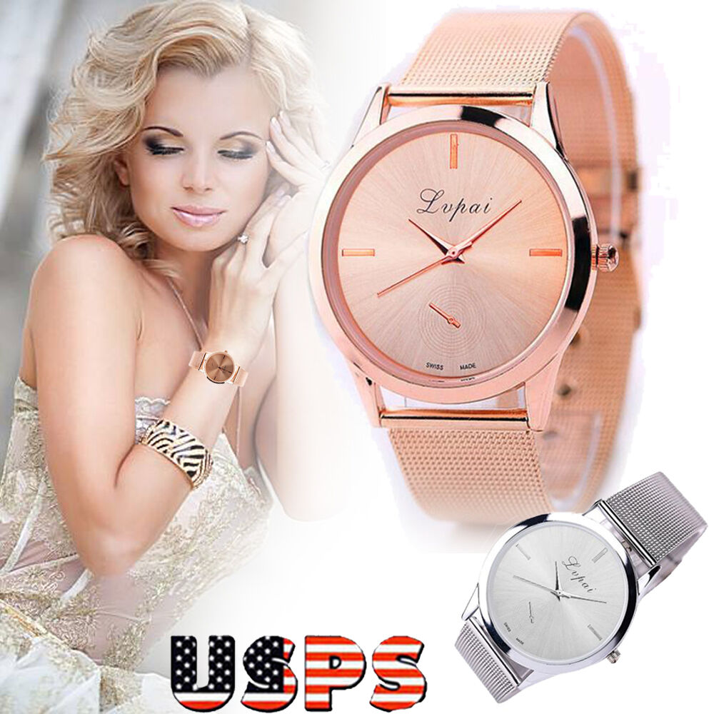 $5.77 - Women Ladies Luxury Watch Stainless Steel Analog Quartz Bracelet Wirst Watches