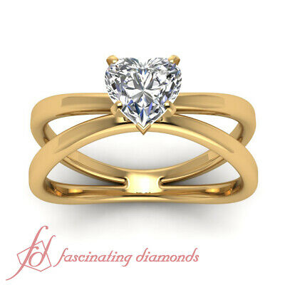 .55 Ct Heart Shaped FLAWLESS Diamond Solitaire Butterfly Engagement Ring 14K GIA 1