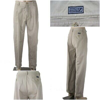 NAUTICA Men's 36 x 32(29.5) Khaki Pleated Front & Cuffed Leg Pants Chinos EUC