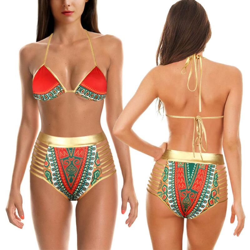 Women Push Up Padded Plus Size Bikini Set swimsuit Bathing High Waist swimwear A