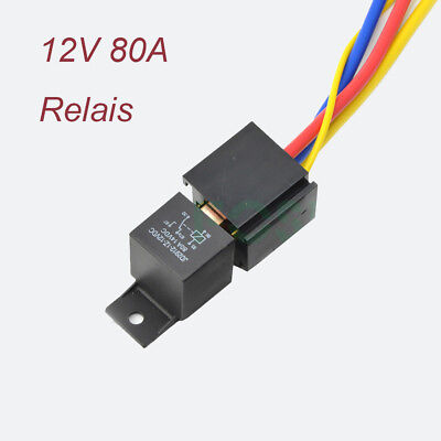 12v 80a 5 Pin Vdc Spdt Car Relay W Wires Harness Socket Heavy Duty Onoff Usa