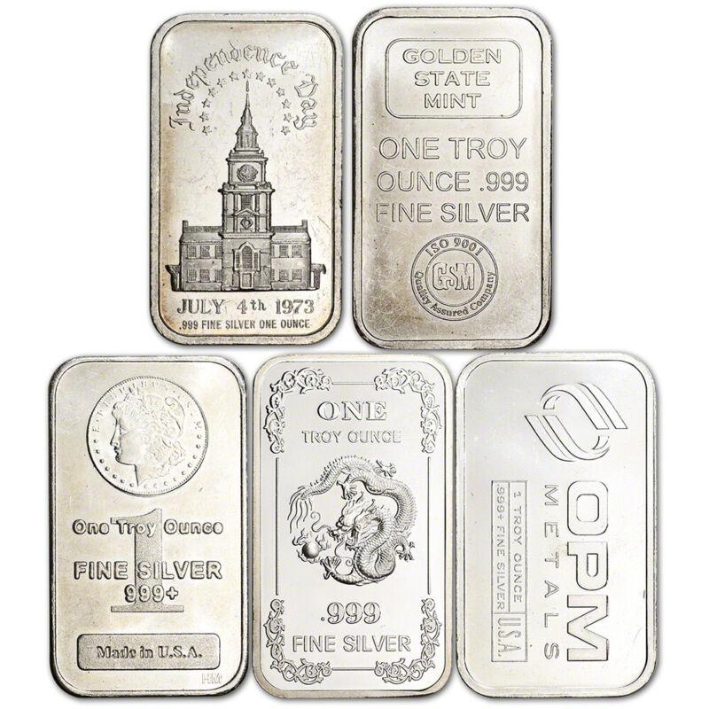 1 oz Silver Bar - Random Brand Secondary Market .999 Fine