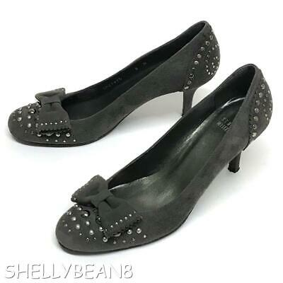 Leather Studded Bow Pumps - STUART WEITZMAN Suede Leather STUDDED Pumps Heels with BOW GRAY 8 N SUPER CuTE!