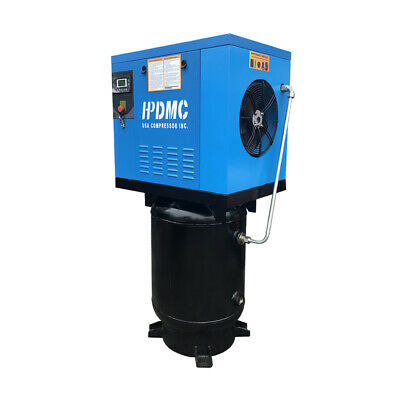7.5hp 3 Phase Rotary Screw Air Compressor 125psi Vertical 60 Gallon Asme Tank