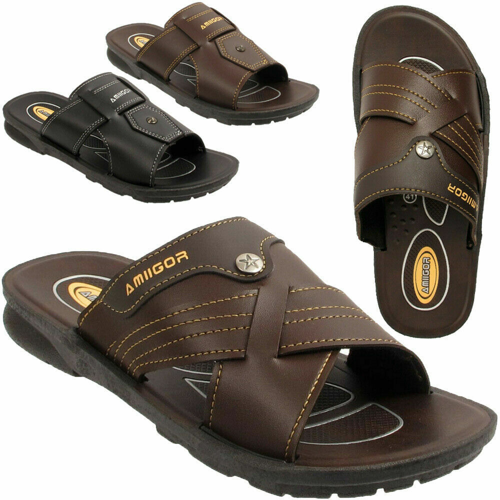 Men Leather Casual Flip Flops Summer Beach Slippers Sandal Shoes Size 10 //11//12
