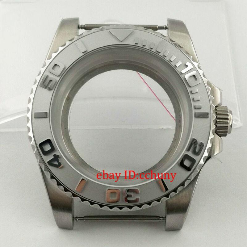 40mm Sapphire Watch Case Gray Ceramic Submariner Bezel Fit NH35 NH36 Movement