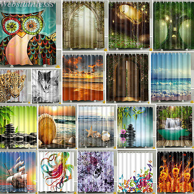 Waterproof Various Pattern & 12 Hooks Bathroom Shower Curtain Multichoice Lot