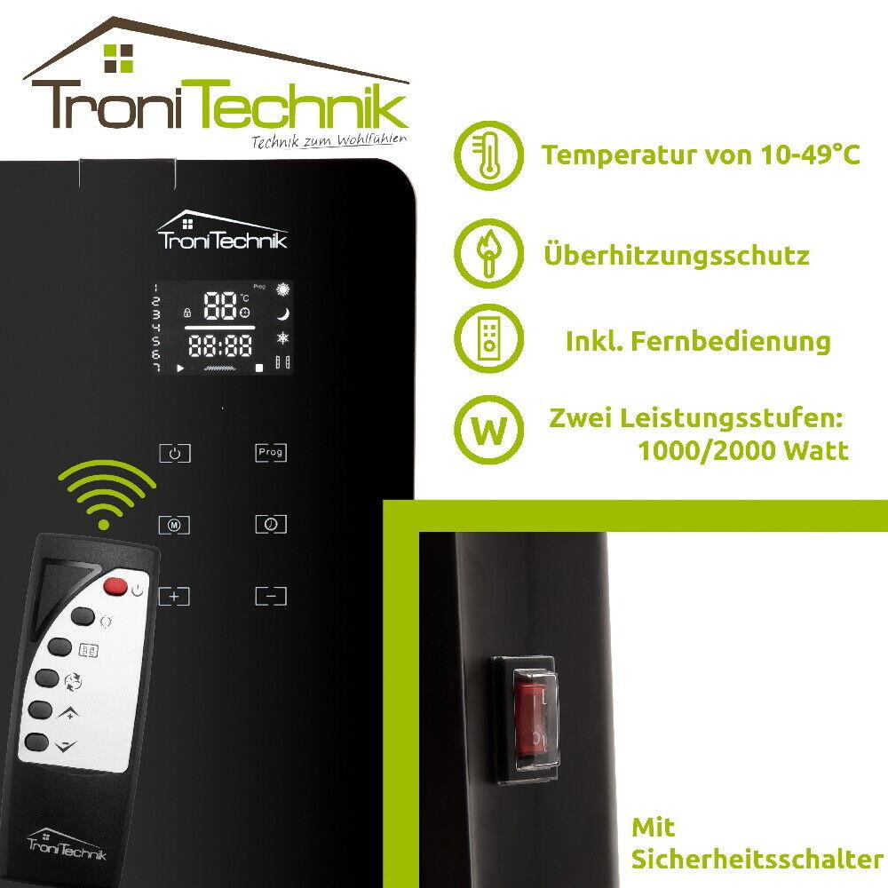 Konvektor Glas Heizung Radiator Heizgerät Elektroheizung Heizkörper 2kW