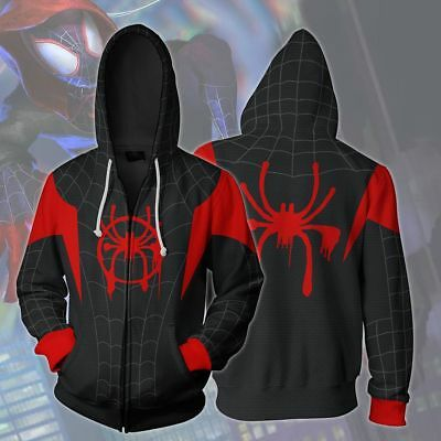 Spiderman Hoodie Mens (US! Spider-Man Mens Into the Spider-Verse Miles Morales Hoodie Sweatshirt)