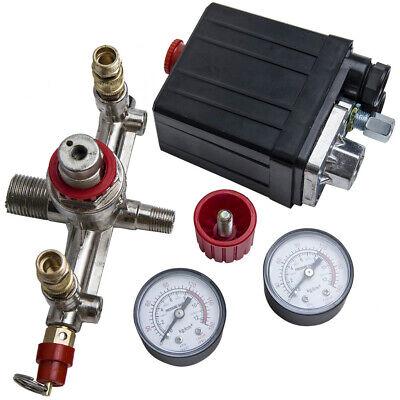 90-120psi Air Compressor Valve Manifold Gauges Regulator Pressure Control Switch
