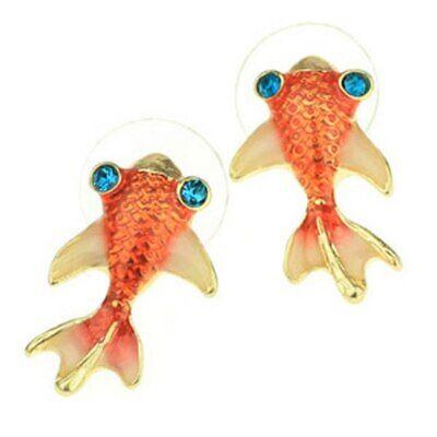 Koi Fish Earrings (NEW  Koi Fish Stud Earrings Beach Jewelry Summer Style Pierced Enamel Crystal  )