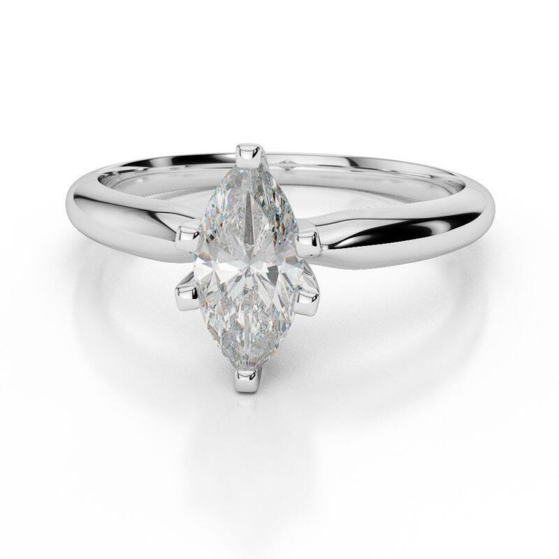 Wedding 1 Ct Marquise Diamond Ring Womens Modern 14 Kt White Gold Certified