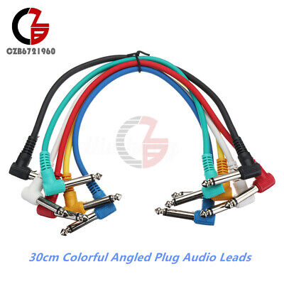 Colorful Angled Plug Audio Leads Patch Cables For Guitar Pedal Effect 6Pcs/Set