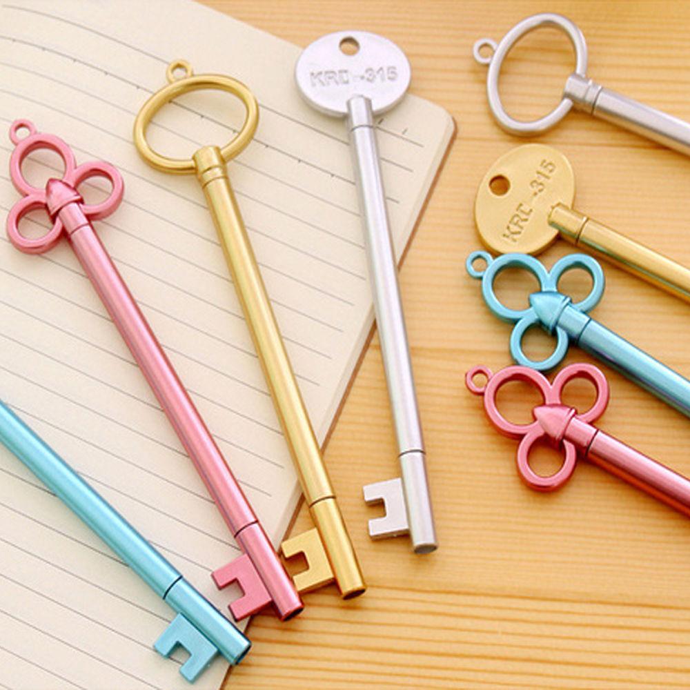 2X Key Shape Gel Pen Black Ballpoint Stationery Writing Tool School Office Gifts