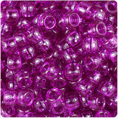 500 Lilac Purple Transparent 9mm Barrel Plastic Pony Beads Made in the USA ()