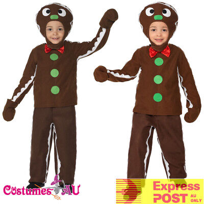 Kids Little Ginger Man Costume Boys Child Brown Book Week Gingerbread Xmas - Gingerbread Boy Costume