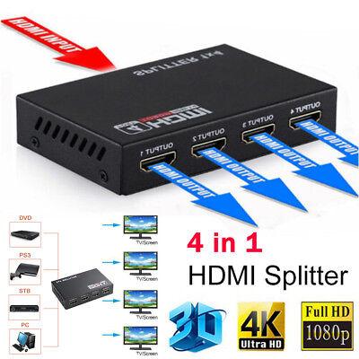 1X4 HDMI Splitter Verteiler Umschalter 4 Port Switch 1080p 4k für HDTV PC DVD Hdmi 4 Port