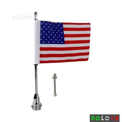 Custom Motorcycle Silver Rear Side Mount Flag Pole American USA Flag For Harleys