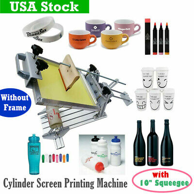 Manual Cylinder Silkscreen Printing Machine For Pen Cup Mug Bottle 10 Squeegee