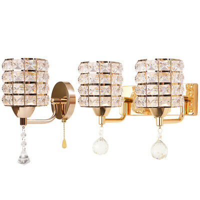 Modern LED Crystal Wall Lamp Sconce Light Bulb Hallway Bedroom Lighting Fixture