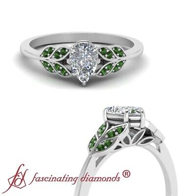 3/4 Carat Pear Shaped Diamond & Emerald Gemstone Nature Inspired Engagement Ring
