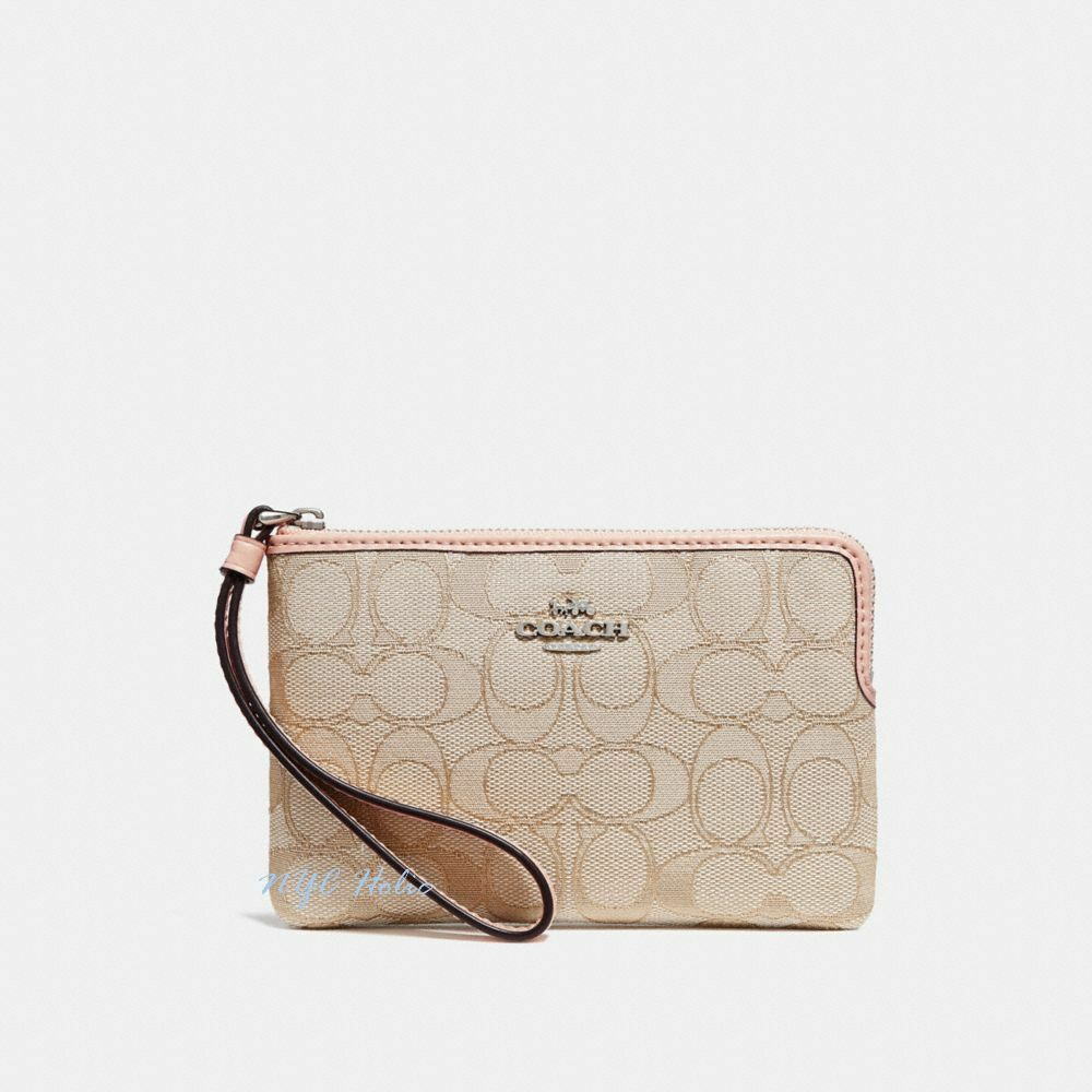 New Coach F58032 F58035 Corner Zip Wristlet With Gift Box New With Tags Light Khaki Light Pink Jacquard