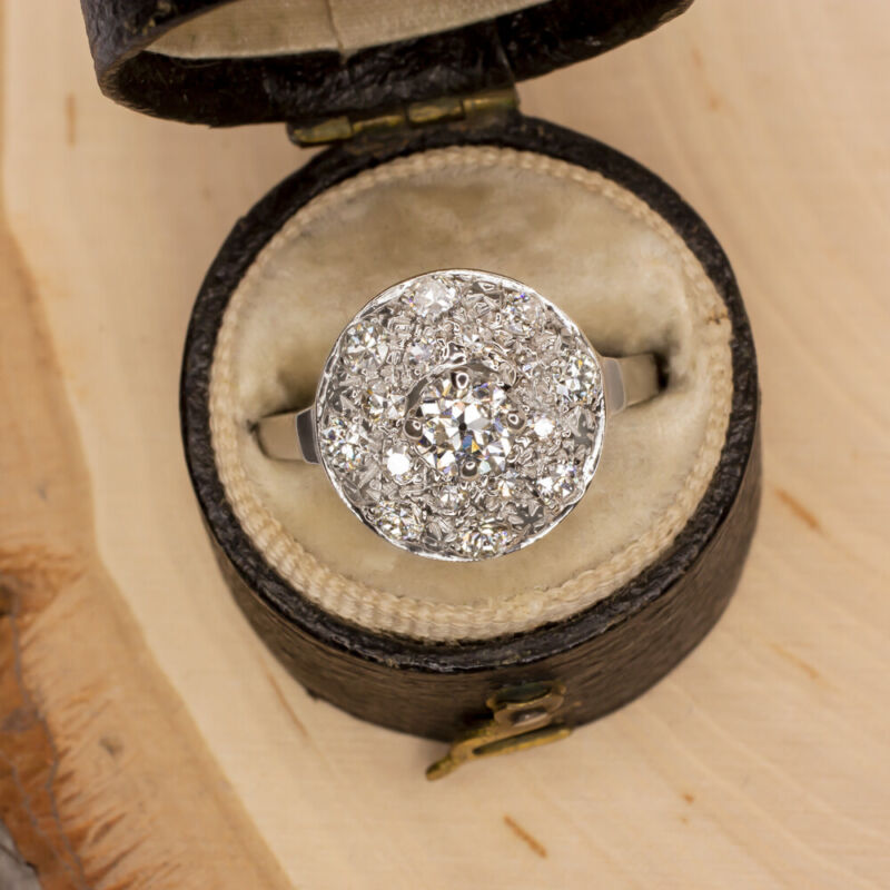 VINTAGE 0.85ct DIAMOND COCKTAIL RING OLD CUT CLUSTER WHITE GOLD PAVE HALO ESTATE