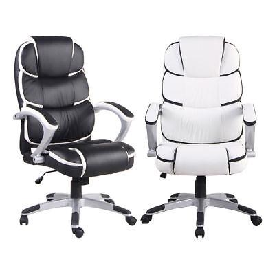 Pu High Back Office Chair Executive Task Ergonomic Computer Desk Whiteblack