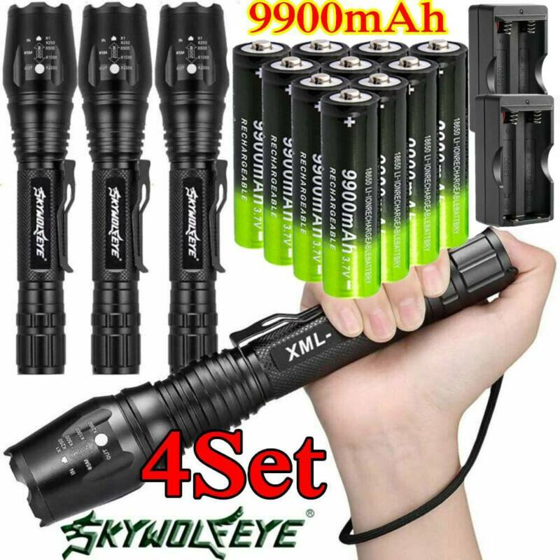 200000LM Tactical Flashlight 5 Modes T6 LED Torch Zoomable 1
