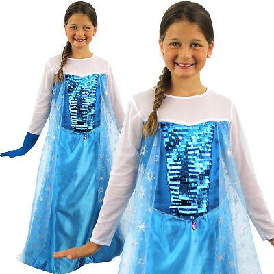 KIDS GIRLS ICE QUEEN COSTUME FILM MOVIE SNOW PRINCESS FANCY DRESS CHRISTMAS (Girls Snow Queen Kostüme)