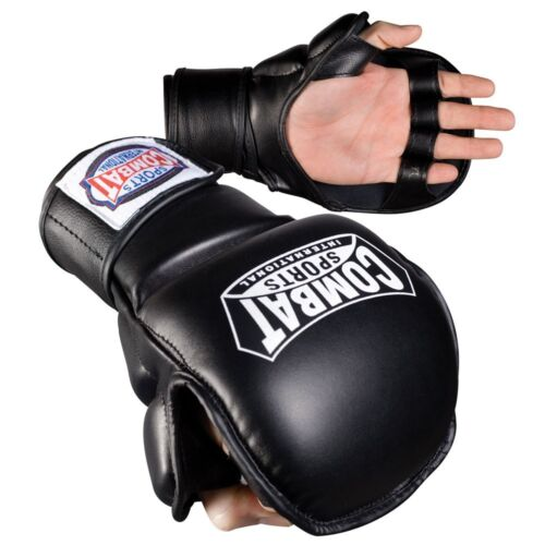 New Combat Sports TG4S Hybrid MMA Grappling Training Sparring Gloves - Black
