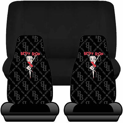 4pc Betty Boop Chainlink Front Seat Covers & UAA Black Bench Cover Universal Fit