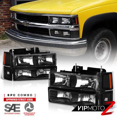 Left+Right Black Headlight+Bumper Parking Corner Lamp 94-98 Chevy C10 C/K Pickup