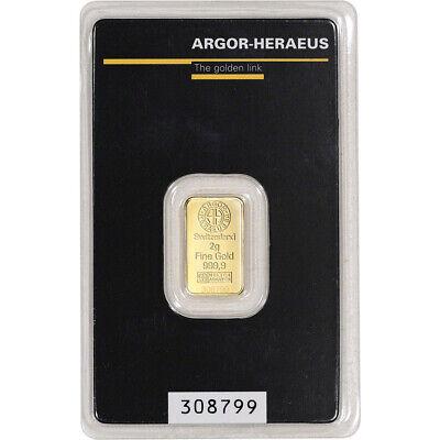 2 gram Gold Bar - Argor Heraeus - 999.9 Fine in Assay
