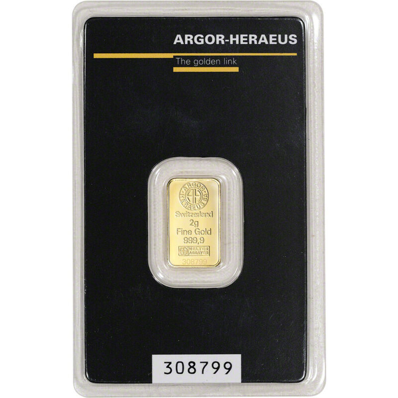 2 gram Gold Bar - Argor Heraeus - 999.9 Fine in Assay