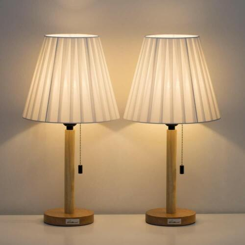 Bedside Table Lamp Set of 2 Wooden Base Nightstand Lamps for