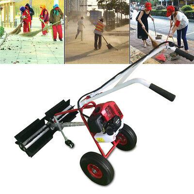 43cc Gas Power Hand Held Walk Behind Sweeper Broom Cleaning Driveway Turf Grass
