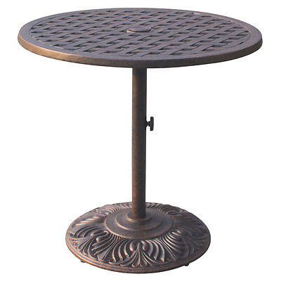 Bar Table Outdoor Cast Aluminum Restaurant Furniture Nassau 30 Round Pedestal