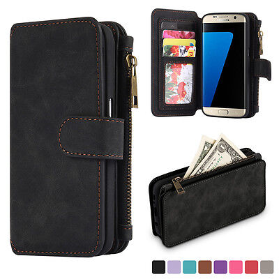 For Samsung Galaxy S7 Leather Removable Wallet Flip Card Phone Case Cover
