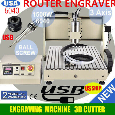 Usb 3 Axis Cnc Router 6040 Engraving Milling Machine Woodworking Carving Tool1.5