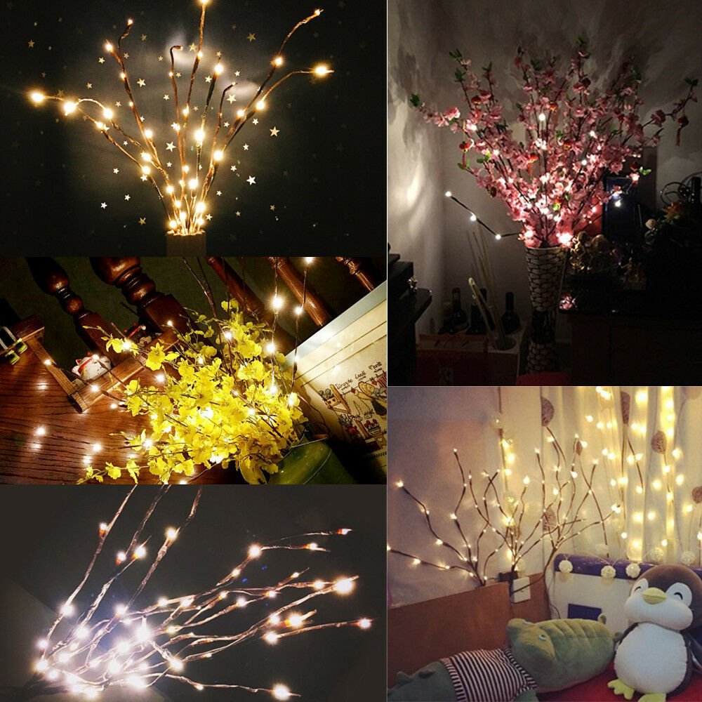 LED Willow Branch Lamp Floral Lights 20 Bulbs Home Christmas Party Garden ca