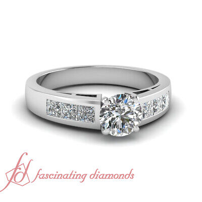 Round Cut Diamond Rings Channel Set For Women With Princess Accents 0.80 Ct GIA