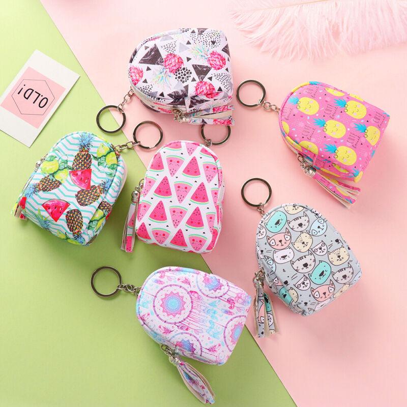 Women Girls Zipper Coin Purse Pouch Mini Backpack Bag Charm