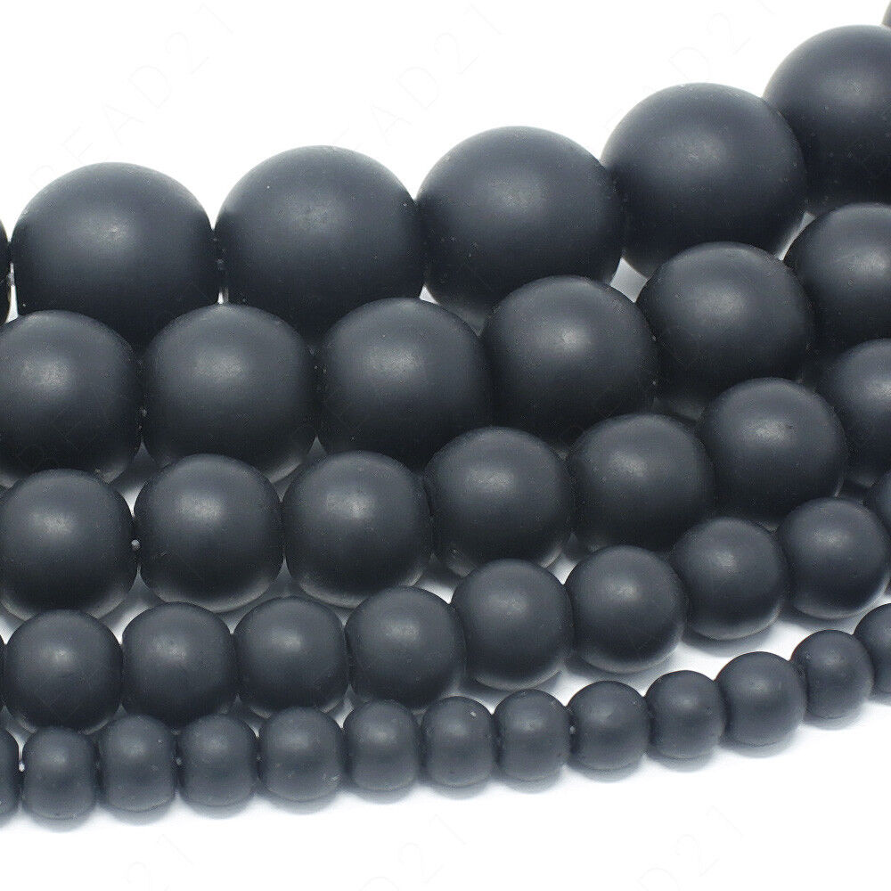 wholesale charm  black glass Grind arenaceous bead spacer beads 4mm 6mm 8mm 10mm