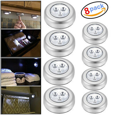 8 PCS 3 LED Touch Push On/Off Light Self-Stick On Click Battery Operated Lights