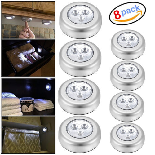 8 PCS 3 LED Touch Push On/Off Light Self-Stick On Click Battery Operated Lights Home & Garden