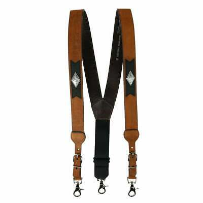 belt co mens leather suspender with diamond
