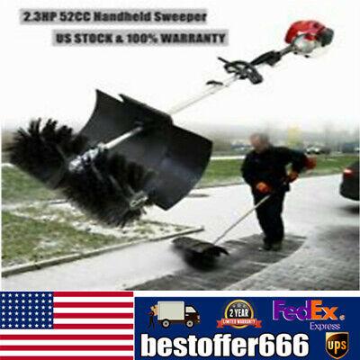 2.3hp 2 Stroke Hand Held Power Sweeper Snow Sweeper Broom Air Cooled Motor 52cc