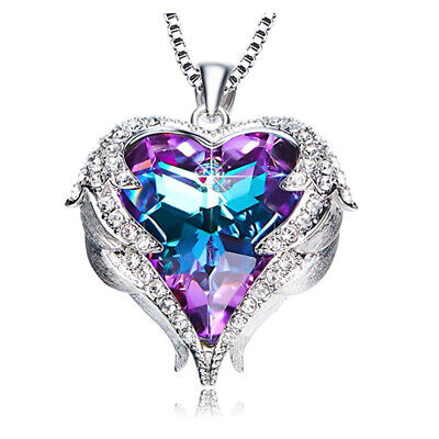 Angel Wings Heart Pendant Necklace made with Swarovski Crystal Purple/ Blue Gift - Blue Necklaces